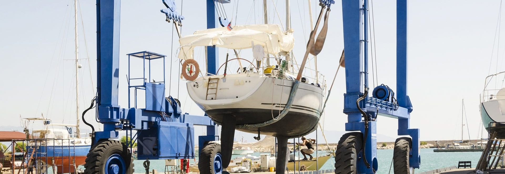 sailboat lift launching for season