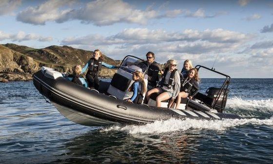family riding on Brig Inflatable boat