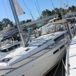 JEanneau 519 charter boat docked